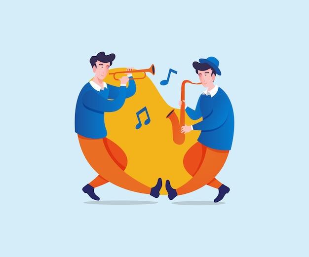 Musiciens heureux de jouer de la musique ensemble