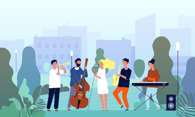 Musiciens de jardin. groupe de musique effectuant un spectacle dans les chanteurs du parc et les joueurs de musique arbres personnages de concept extérieur. artiste de dessin animé musicien, sax musical dans l'illustration du parc