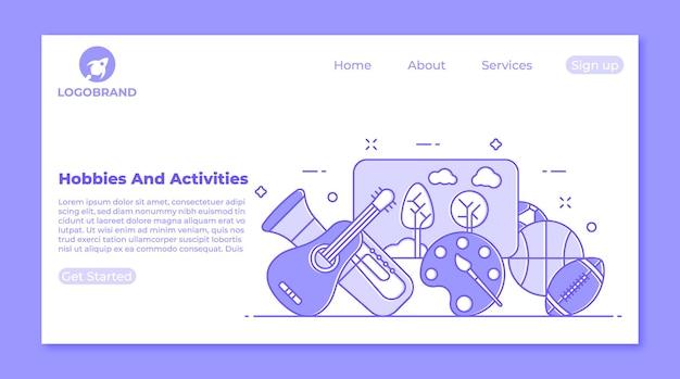 Musique et art activités et concept de page de destination de loisirs sportifs