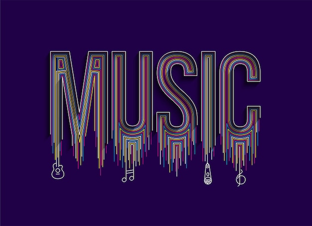 Musique art ligne calligraphique texte shopping poster vector illustration design