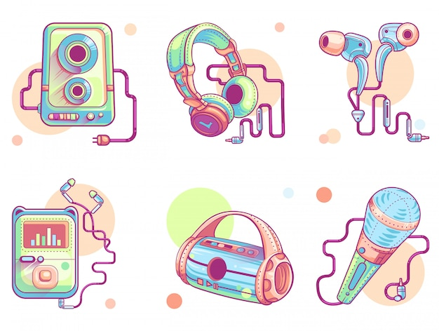 Musique ou audio ligne art icônes