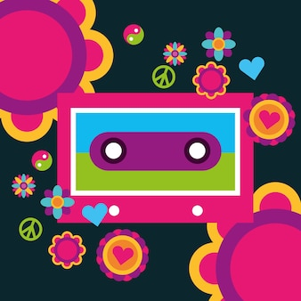 Musique cassette fleurs paix amour coeur esprit libre