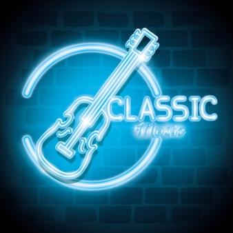 Musique classique barre néon étiquette vector illustration design