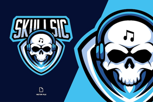 Musique de crâne avec illustration de logo sport mascotte casque