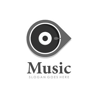 La musique de disque joue la conception de logo