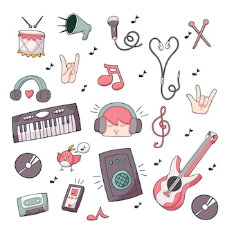 Musique doodle compilation illustration de doodle mignon