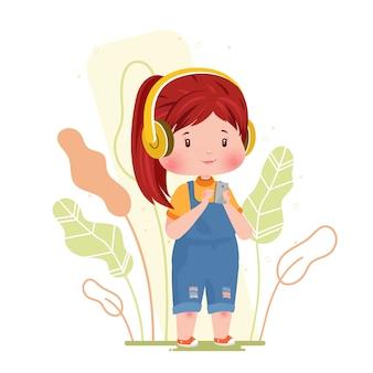 Musique écoute fille mignonne personnage concept illustration tenant smartphone