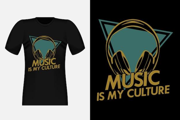 La musique est ma culture silhouette vintage t-shirt design illustration
