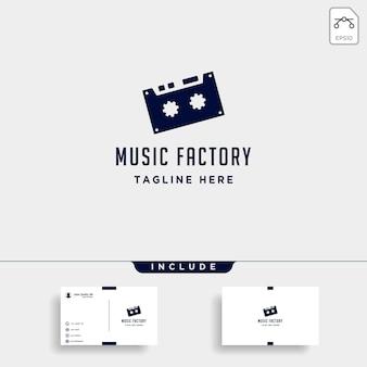 Musique gear logo design studio casque microphone cassette vecteur icône monoline