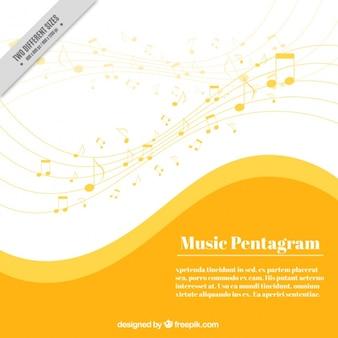 Musique jaune pentagramme fond