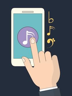 Musique en ligne représentée par smartphone