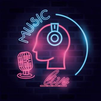 Musique, live, étiquette, néon, lumières, illustration
