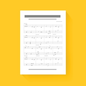 Musique note sheet compose song icône illustration vector