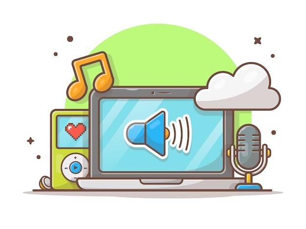 Musique en nuage avec ordinateur portable, microphone, lecteur de musique et note de musique blanc isolé