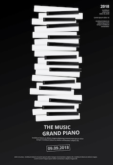 Musique piano à queue affiche fond modèle illustration vectorielle