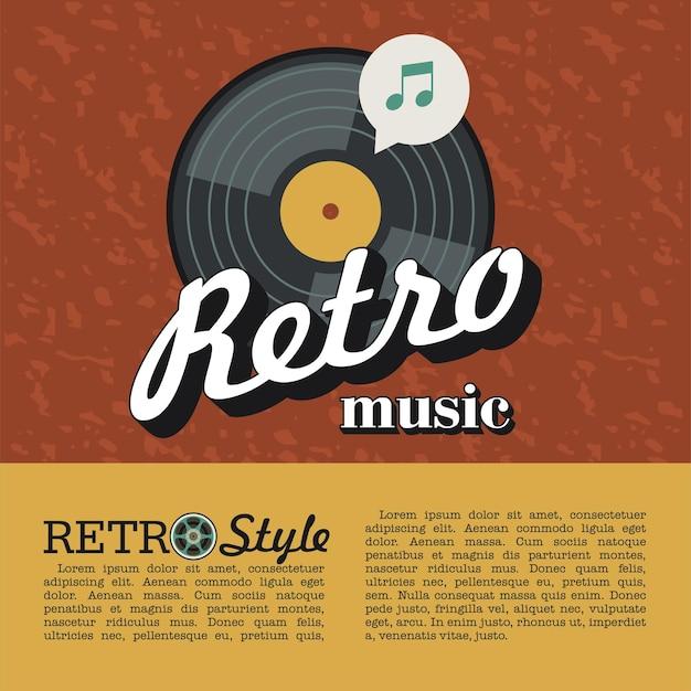 Musique rétro. affiche de vecteur. le disque vinyle.