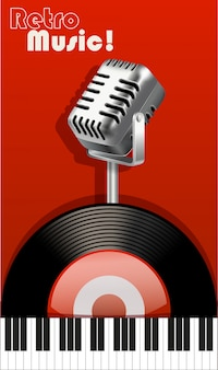 Musique rétro avec microphone et enregistreur