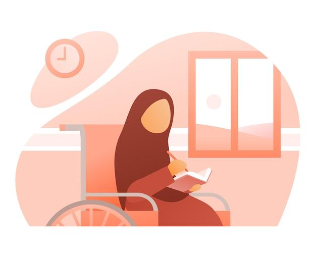 Muslimah girl écrire une illustration de livre