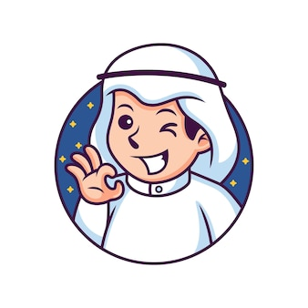 Musulman avec illustration d'icône de dessin animé mignon pose. concept d'icône de personne isolé