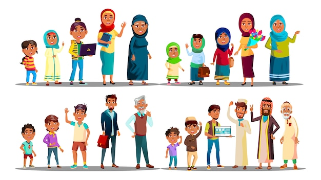 Musulman. peuple arabe musulman. homme femme. art islamique