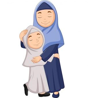 Musulmane, mère, fille, étreindre