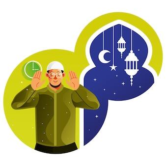 Les musulmans prient à minuit