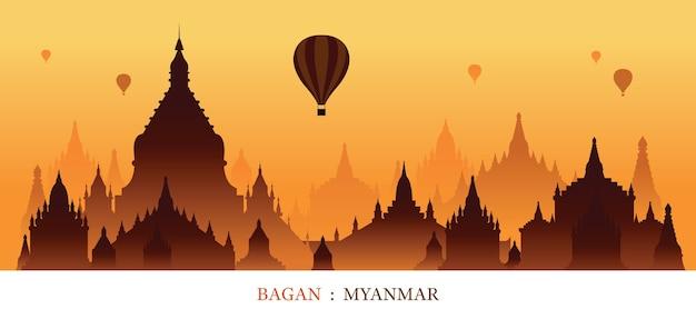 Myanmar monuments silhouette lever de soleil