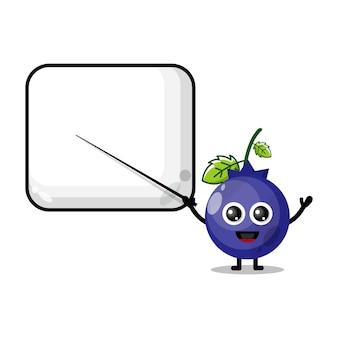 Les myrtilles deviennent la mascotte du personnage mignon de l'enseignant