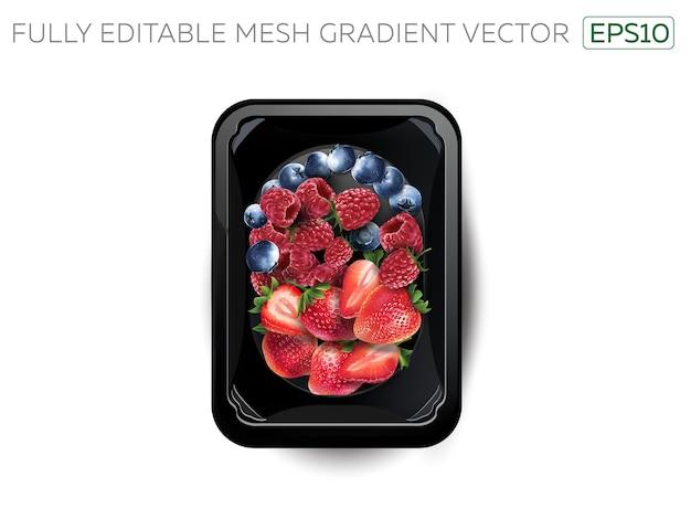 Myrtilles, framboises et fraises dans une boîte à lunch.