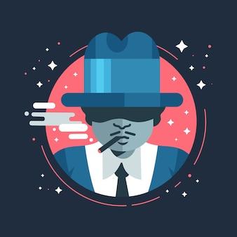 Mystérieux personnage de gangster / mafia fumant