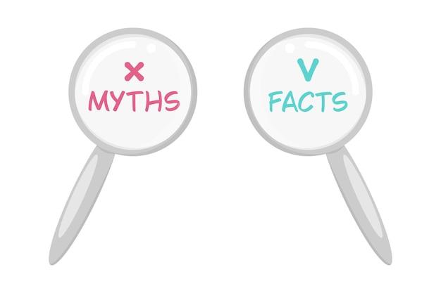Mythes et faits. illustration de dessin animé de vecteur de lettrage à la loupe.