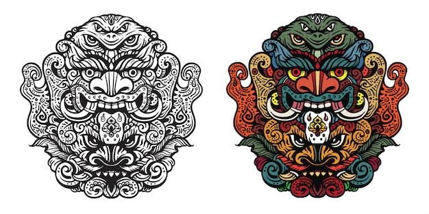 Mythique monstre artificiel mal avec de grandes canines illustration style floral traditionnel pour les vêtements de marchandises