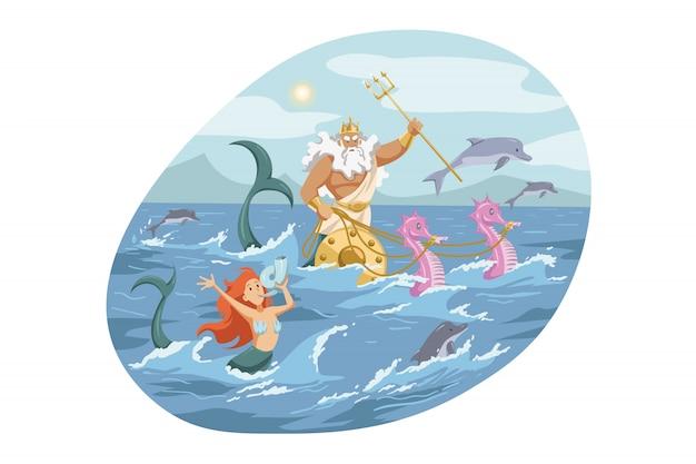 Mythologie, grèce, olympe, dieu, neptune, concept de religion