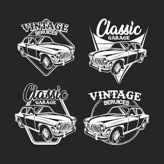 N & b de l'emblème de voiture vintage n & b sur dark