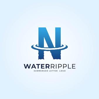 N bleu dégradé lettre eau ondulation splash vague logo dynamique icône vecteur illustration