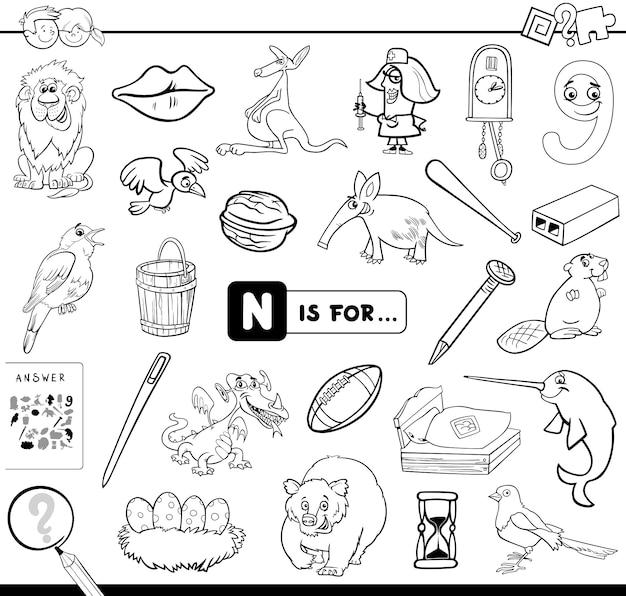 N est pour le livre de coloriage de jeu éducatif