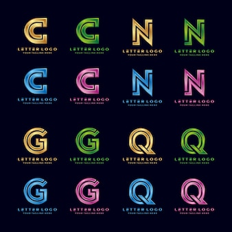 C, n, g, q, lettre de luxe logo