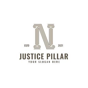 N lettre logo justice et cabinet d'avocats pilier audacieux dessin au trait professionnel
