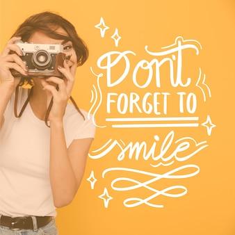 N'oubliez pas de sourire lettrage