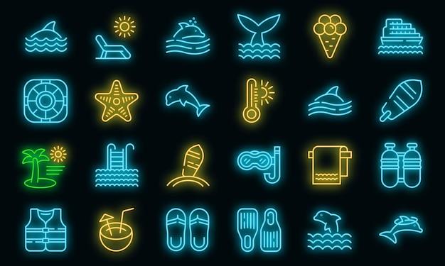 Nager avec l'icône des dauphins, style de contour