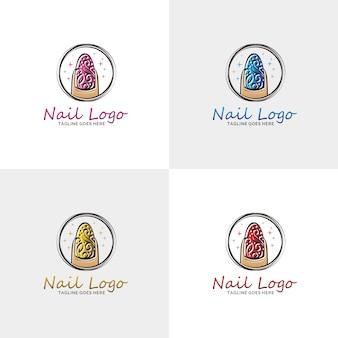 Nail Salon Logo Avec La Couleur De L'option. Vecteur Premium