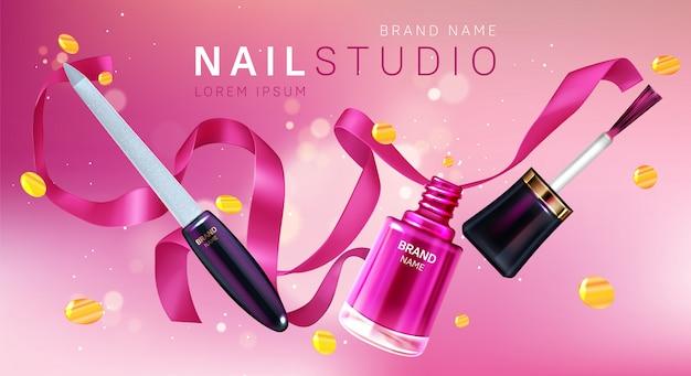 Nail studio, affiche de marque de salon de manucure