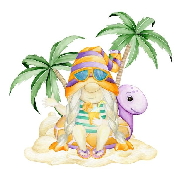 Un nain assis sur une tortue gonflable, contre du sable et des palmiers.