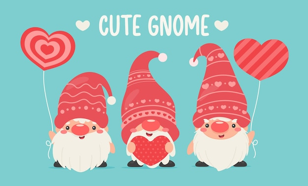 Les nains ou les gnomes tiennent des ballons en forme de cœur rose.