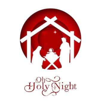 Naissance du christ, silhouette de marie, joseph et jésus,