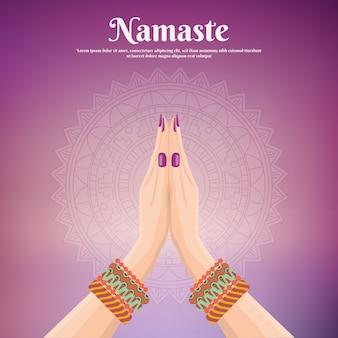 Namaste fond avec les mains