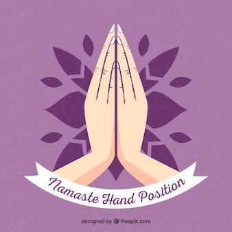 Namaste geste avec un design plat
