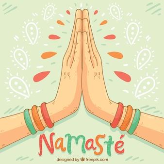 Namaste geste avec style dessiné à la main