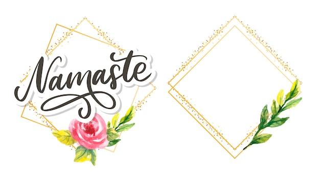 Namaste lettrage salutation indienne, bonjour en hindi t-shirt à la main lettré calligraphique. typographie inspirante.