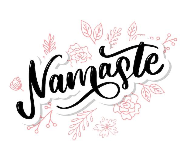 Namaste lettrage salutation indienne